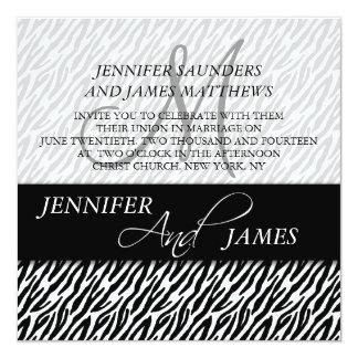 Black Zebra Pattern Monogram Wedding Invitations
