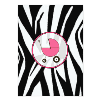 Black Zebra Print and Pink Baby Shower Invitation