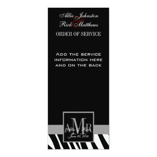 Black Zebra Print Monograms Wedding Program