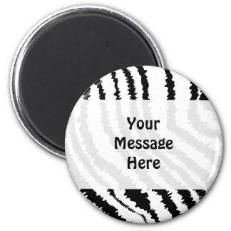 Black Zebra Print Pattern. 2 Inch Round Magnet