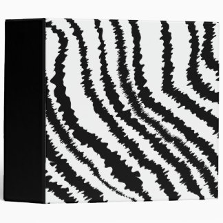 Black Zebra Print Pattern. 3 Ring Binder