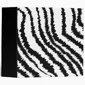 Black Zebra Print Pattern. 3 Ring Binders