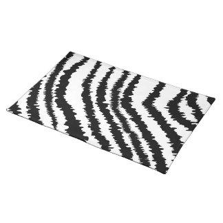 Black Zebra Print Pattern. Cloth Placemat