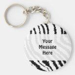 Black Zebra Print Pattern. Keychain