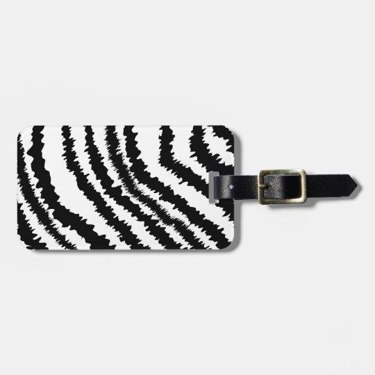 Black Zebra Print Pattern. Luggage Tag