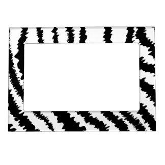 Black Zebra Print Pattern. Photo Frame Magnets