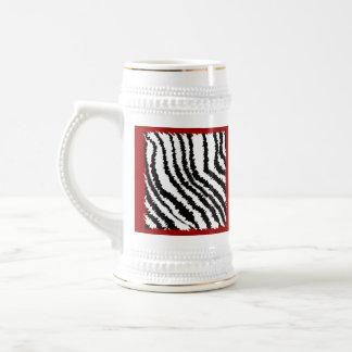 Black Zebra Print Pattern on Deep Red. Beer Stein