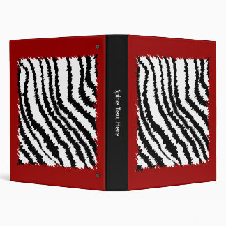 Black Zebra Print Pattern on Deep Red. Binder