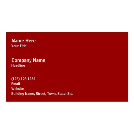 Black Zebra Print Pattern on Deep Red. Business Card