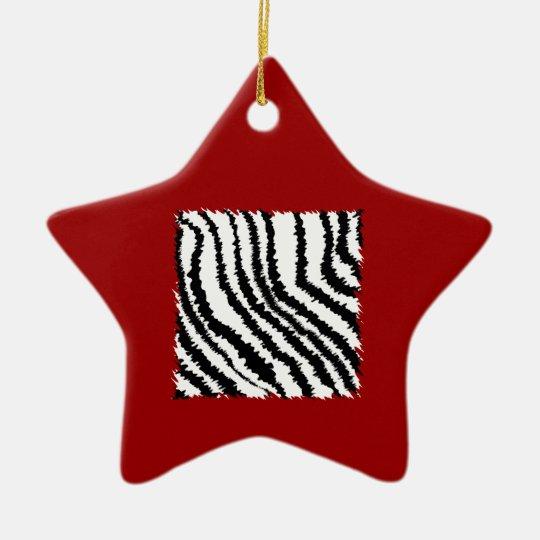 Black Zebra Print Pattern on Deep Red. Ceramic Ornament