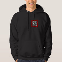 Black Zebra Print Pattern on Deep Red. Hoodie
