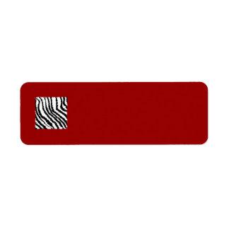 Black Zebra Print Pattern on Deep Red. Return Address Labels