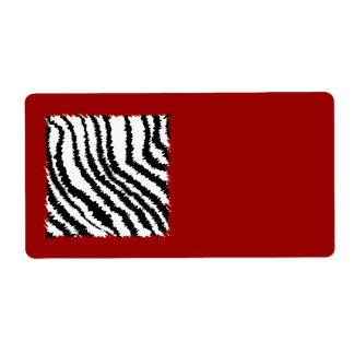 Black Zebra Print Pattern on Deep Red. Label