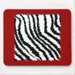 Black Zebra Print Pattern on Deep Red. Mouse Pads