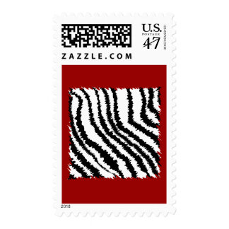 Black Zebra Print Pattern on Deep Red. Postage