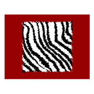 Black Zebra Print Pattern on Deep Red. Postcard