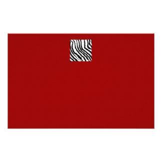 Black Zebra Print Pattern on Deep Red. Stationery