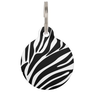 Black Zebra Print Pattern Pet ID Tag