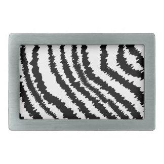 Black Zebra Print Pattern. Rectangular Belt Buckle