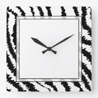 Black Zebra Print Pattern. Square Wall Clock
