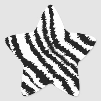 Black Zebra Print Pattern. Star Sticker