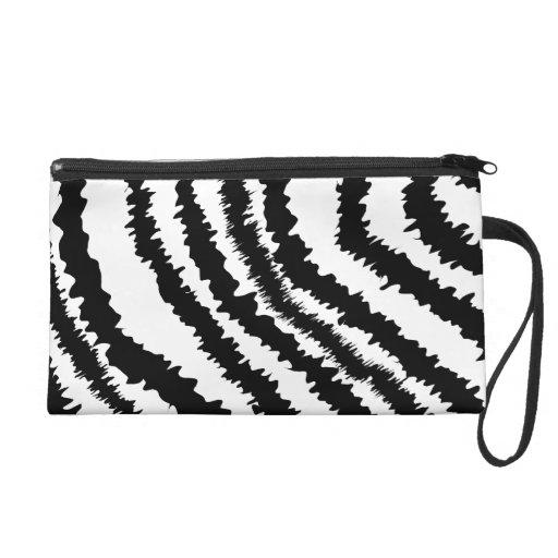 Black Zebra Print Pattern. Wristlet Purses