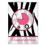 Black Zebra Print / Pink Baby Congratulations Greeting Card