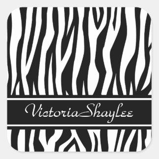 Black Zebra Print with custom text Square Sticker