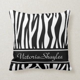 Black Zebra Print with custom text Throw Pillow