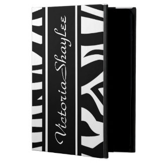 Black Zebra Print with customizable name iPad Air Cover