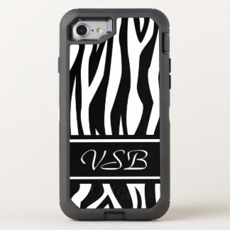 Black Zebra Print with monogram OtterBox Defender iPhone 7 Case
