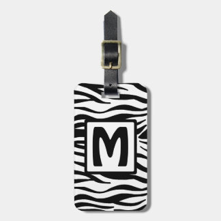 Black Zebra Squared Monogram Bag Tag