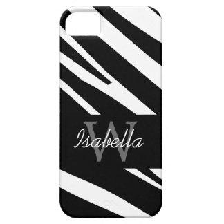 BLACK ZEBRA STRIPES INITIAL NAME iPhone SE/5/5s CASE