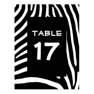 Black Zebra Stripes Table Number Postcard