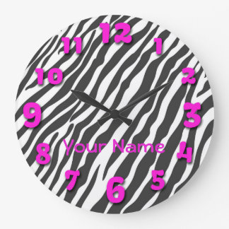 Black Zebra Stripes with Pink Numbers Large Clock