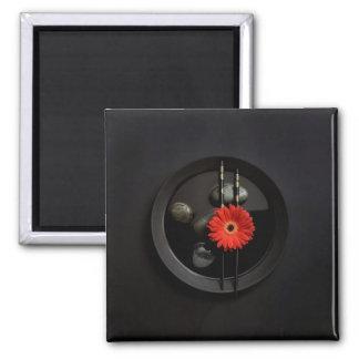 Black Zen Flower Magnet