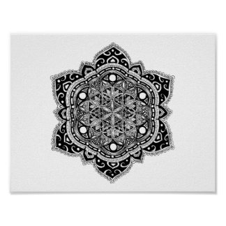 Black Zendala Flower of Life Poster
