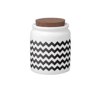 Black zig zags zigzag chevron pattern candy jar