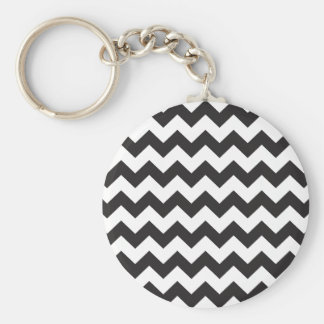 Black zig zags zigzag chevron pattern key chain