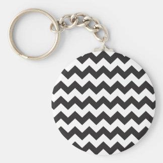 Black zig zags zigzag chevron pattern keychain