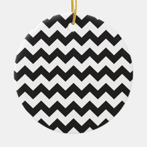 Black zig zags zigzag chevron pattern christmas ornaments