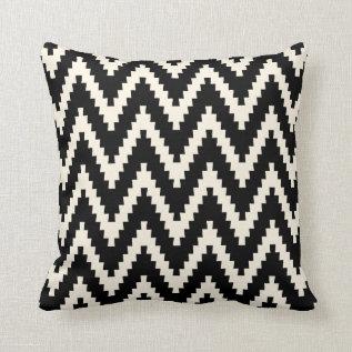 Black Ziggurat Chevron Pattern Pillow at Zazzle