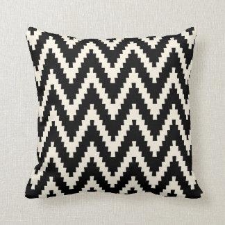 Black Ziggurat Chevron Pattern Pillow