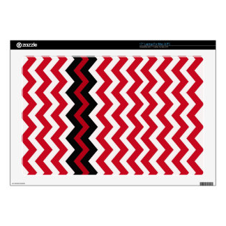 "Black Zigzag Border On Red and White Decal For 17"" Laptop"