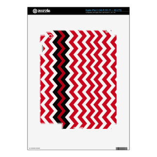 Black Zigzag Border On Red and White Decal For iPad 3