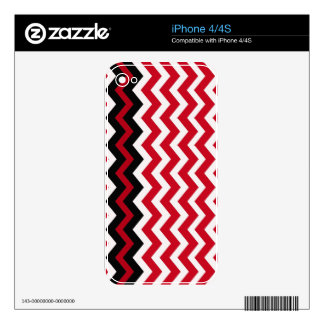 Black Zigzag Border On Red and White Decals For iPhone 4S
