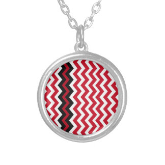 Black Zigzag Border On Red and White Silver Plated Necklace