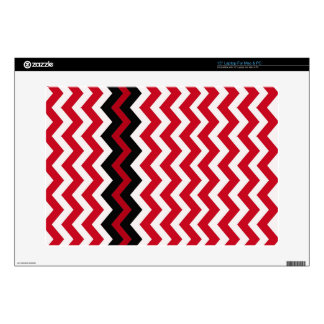 "Black Zigzag Border On Red and White Skin For 15"" Laptop"