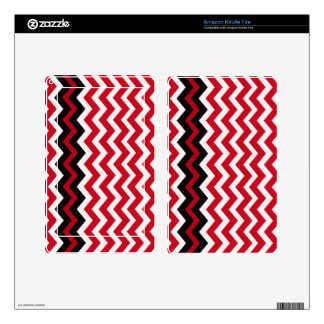 Black Zigzag Border On Red and White Skins For Kindle Fire