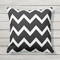 Black Zigzag Chevron Pattern Outdoor Pillows